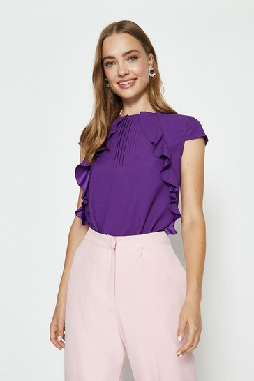 Purple Pintuck and Frill Cap Sleeve Top