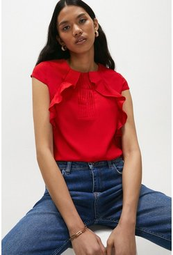 Red Pintuck and Frill Cap Sleeve Top