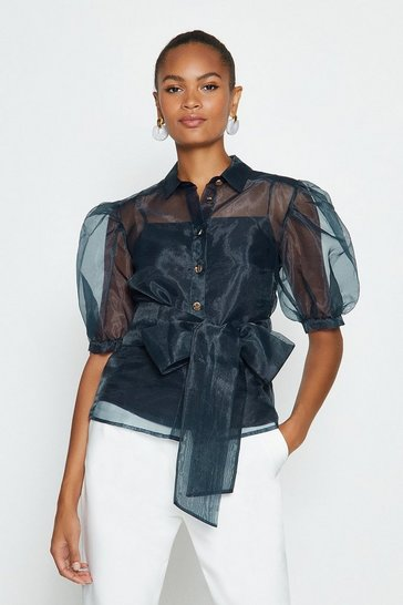 Navy Plain Organza Puff Sleeve Top