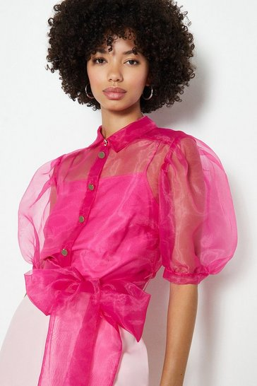 Pink Plain Organza Puff Sleeve Top