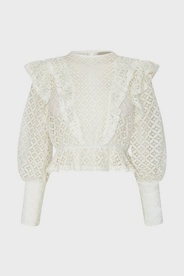 Ivory Ruffle Front Lace Blouse