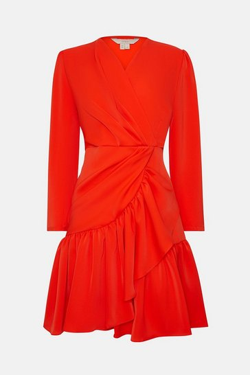 Red Ruffle Hem Skirt Dress