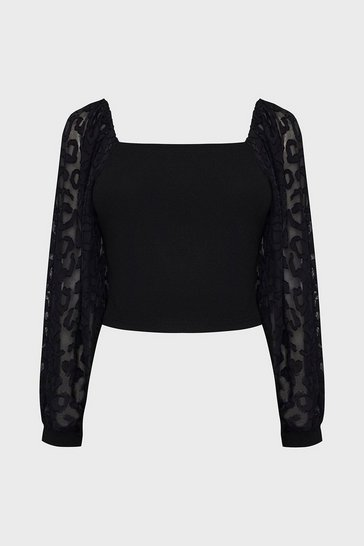 Black Square Neck Long Sleeve Top