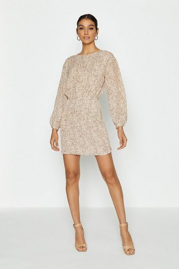Beige Animal Print Long Sleeve Batwing Dress