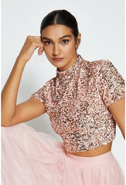 Rose Short Sleeve Sequin Top
