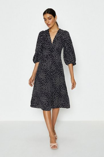 Black V-Neck Puff Sleeve Spot Midi Dress