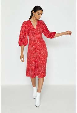 Red V-Neck Puff Sleeve Spot Midi Dress