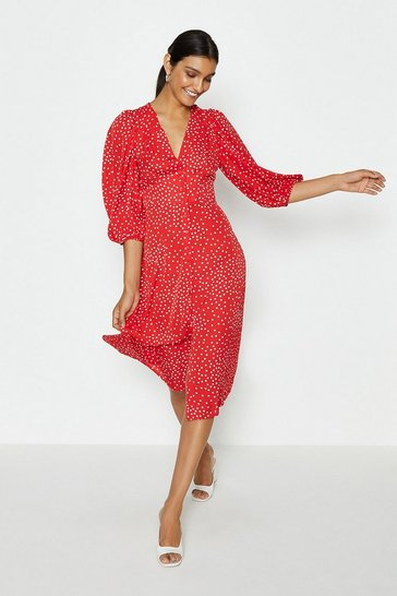 Wine V-Neck Puff Sleeve Spot Midi Dress
