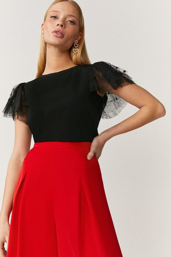 Black Tulle Frill Sleeve T-Shirt