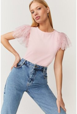 Blush Tulle Frill Sleeve T-Shirt