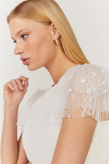 Ivory Tulle Frill Sleeve T-Shirt
