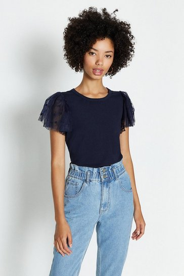 Navy Tulle Frill Sleeve T-Shirt