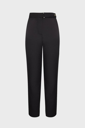 Black Button Waistband Slim Leg Trousers