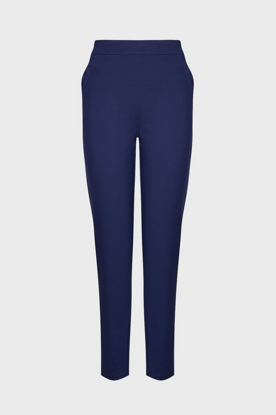 Navy Slim Fit Ankle Length Trousers