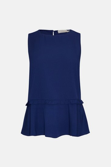 Navy Frill Hem Sleeveless Swing Top