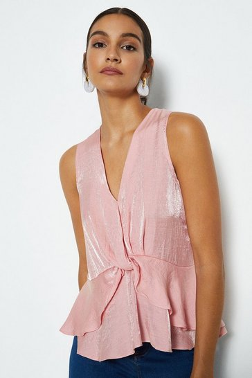 Blush Sleeveless Twist Wrap Front Top