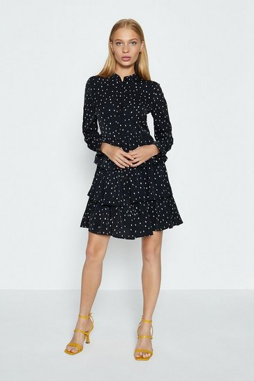 Black Long Sleeve Spot Tiered Short Dress