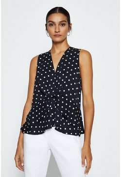 Black Sleeveless Polkadaot Twist Wrap Front Top