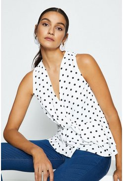 Ivory Sleeveless Polkadaot Twist Wrap Front Top