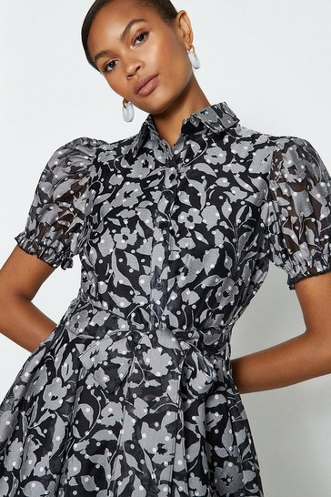 Black Floral Puff Sleeve Skater Skirt Dress