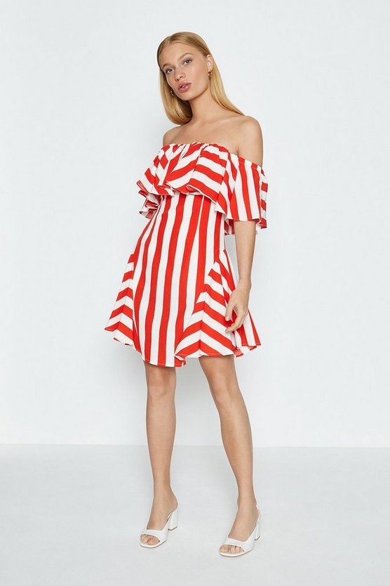 Red Stripped Bandeau Summer Dress