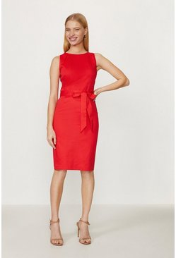 Red Cotton Shift Dress
