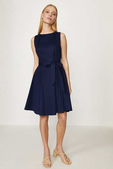 Navy Cotton Fit And Flare Dress