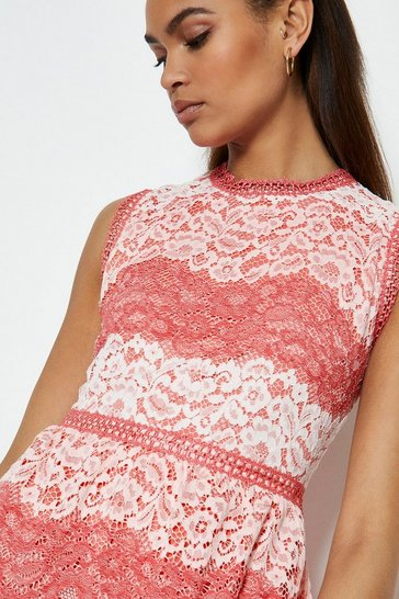 Pink Lace Stripe Dress