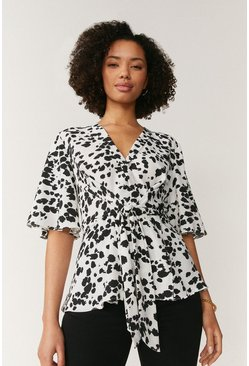 Ivory Abstract Animal Print Wrap Top