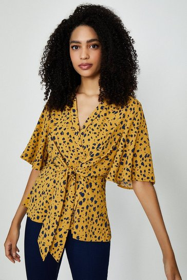 Mustard Abstract Animal Print Wrap Top