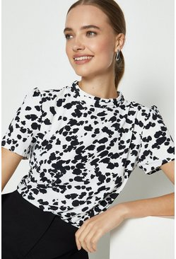 Ivory High Neck Abstract Animal Print Top
