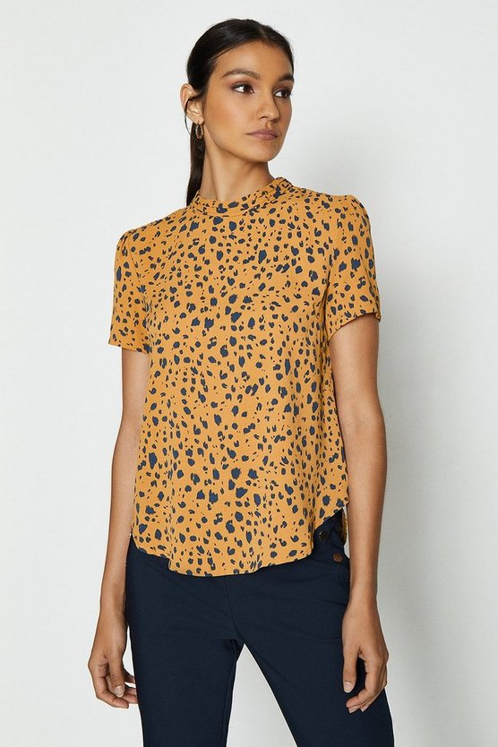 Mustard High Neck Abstract Animal Print Top
