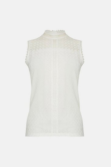 Ivory High Neck Lace Trim Detail Shell Top