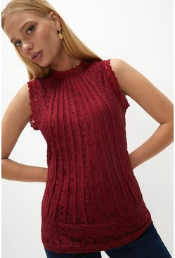 Berry Mesh And Lace Collared Shell Top