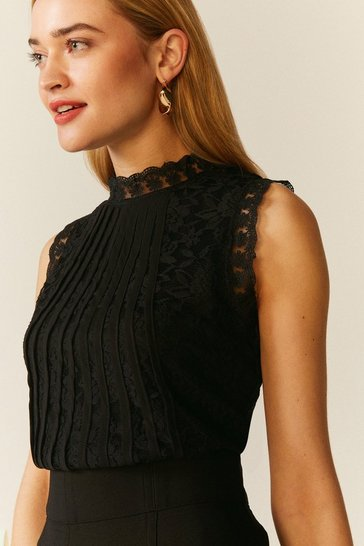 Black Mesh And Lace Collared Shell Top