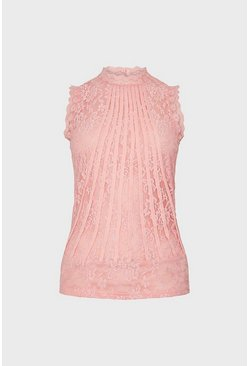 Blush Mesh And Lace Collared Shell Top