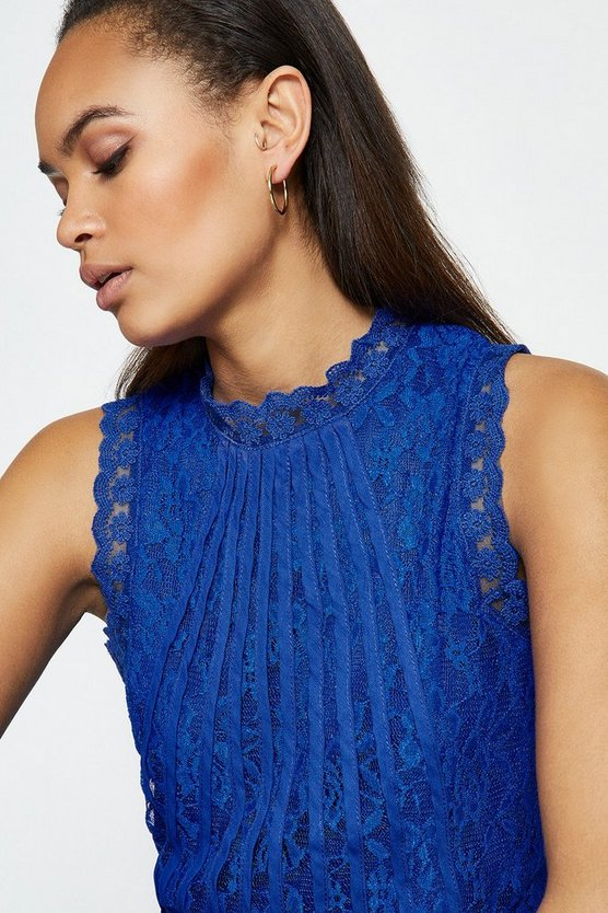 Cobalt Mesh & Lace Collared Shell Top