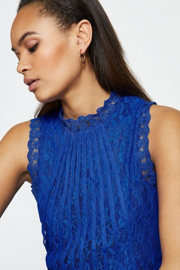 Cobalt Mesh And Lace Collared Shell Top