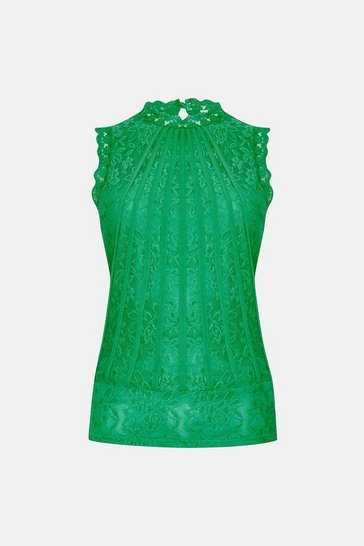 Green Mesh & Lace Collared Shell Top
