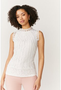 Ivory Mesh & Lace Collared Shell Top