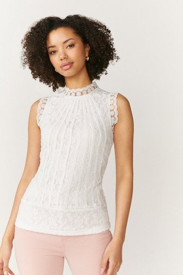Ivory Mesh And Lace Collared Shell Top