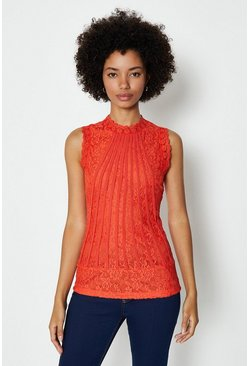 Orange Mesh And Lace Collared Shell Top