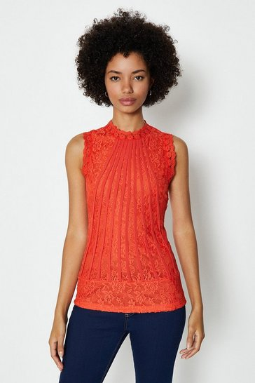 Orange Mesh & Lace Collared Shell Top