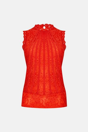 Red Mesh And Lace Collared Shell Top