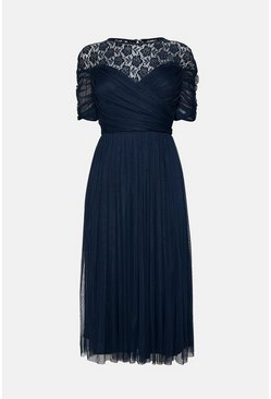 Navy Lace Yoke Tulle Midi Dress