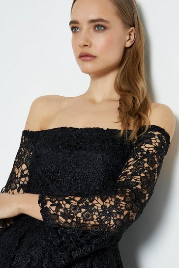 Black Off The Shoulder Lace Midi Dress