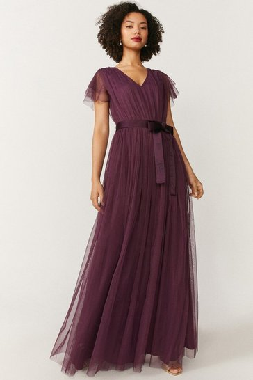 Berry Tulle V-NeckTie Belt Maxi Dress