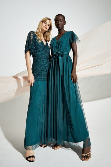 Forest Tulle V-Neck Tie Belt Maxi Dress