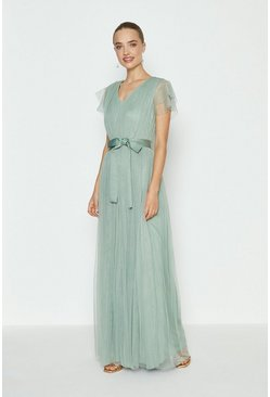 Green Tulle V-Neck Tie Belt Maxi Dress