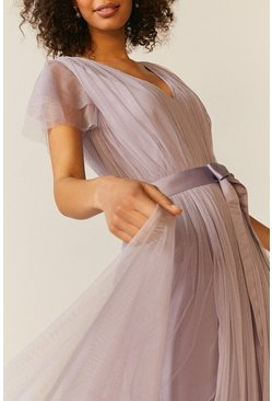Lilac Tulle V-Neck Tie Belt Maxi Dress